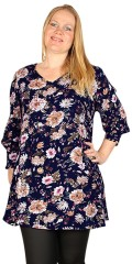 Studio Clothing - Blomstret tunika med 3/4 ærme