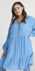Zizzi - Light blue dress with flounces