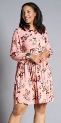 Studio Clothing - Blomstret knælang kjole