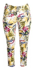 Adia Fashion - Flowery 7/8 jeans with adjustable waist