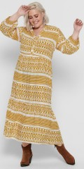 ONLY Carmakoma - Yellow patterned dress