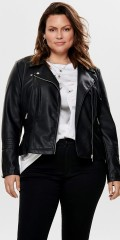 ONLY Carmakoma - Imitated raw leatherjacket with zip fasteners
