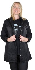 Adia Fashion - Long stretchable jeans jacket with rivets