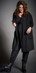 Gozzip - Drape waistcoat with stripes and imitated suede