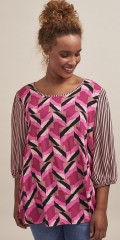 Aprico - Blouse with graphic print and stripes