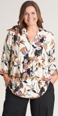 Gozzip - Skøn bluse med v-udskæring og stolpelukning.