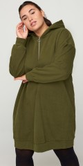 Zizzi - Sweat dress / lang hoodie