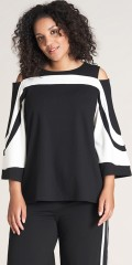 Studio Clothing - Black / white blouse with cold shoulder