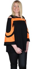 Studio Clothing - Black orange blouse med cold shoulder