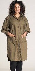 Studio Clothing - Army shirt dress with puff sleeves