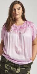 Adia Fashion - Silkelook bluse med flæser