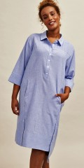Aprico - Lang skjorte med diskrete striper