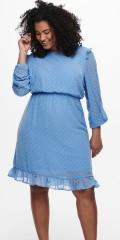 ONLY Carmakoma - Ljusblå klänning med volanger