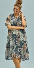 Zhenzi - Lens kjole i multiprint