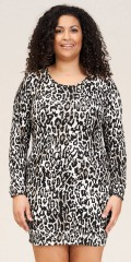 Sandgaard - Amsterdam-slim lång t-shirt i grå leopard
