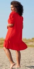 ONLY Carmakoma - Didde rot Kleid mit Puff Ärmeln