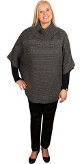 Zhenzi - Knitted poncho with roll collar