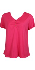 Zhenzi - T-shirt with v cutting and button closing in neck