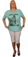 Zhenzi - T-shirt med korte vingeærmer, print og palietter. flot bånd over skuldrene som giver smart rynkeeffekt