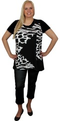 Handberg - Tunica without sleeves with smart black/white pattern