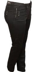 DNY (MARC LAUGE) - Coated (mody) bukser med 4 lommer og strech, skridtlængde 80 og 86 cm. med regulerbar elastik i taljen fra str 46 og op