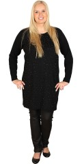 Cassiopeia - Nice long-sleeve knit dress strewn with shiny pearls. Buttons centrally in the back