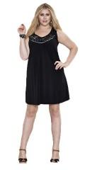 Zhenzi - Tunika kjole u/ærmer og med palietter i hals og lille slids i nakken, let a-facon