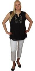 Zhenzi - Skjorte u/ærmer med flotte sten/perler i forstykket, let faconsyet